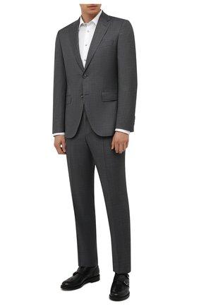 Мужской шерстяной костюм BOSS серого цвета, арт. 50458897 | Фото 1 (Материал внешний: Шерсть; Рукава: Длинные; Костюмы М: Однобортный; Стили: Классический)