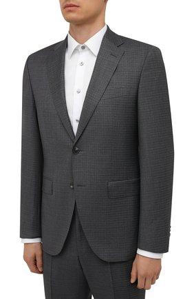 Мужской шерстяной костюм BOSS серого цвета, арт. 50458897 | Фото 2 (Материал внешний: Шерсть; Рукава: Длинные; Костюмы М: Однобортный; Стили: Классический)