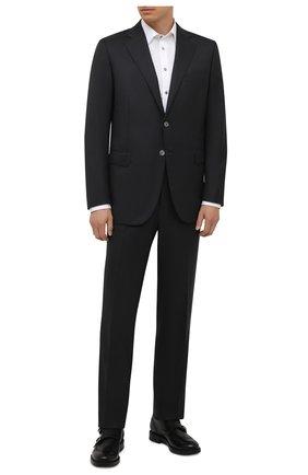 Мужской шерстяной костюм ZILLI темно-серого цвета, арт. MMW-P1202Z1-00105/000 | Фото 1 (Материал внешний: Шерсть; Материал подклада: Купро; Рукава: Длинные; Костюмы М: Однобортный; Стили: Классический)