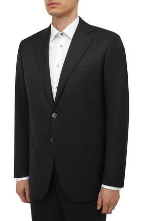 Мужской шерстяной костюм ZILLI темно-серого цвета, арт. MMW-P1202Z1-00105/000 | Фото 2 (Материал внешний: Шерсть; Материал подклада: Купро; Рукава: Длинные; Костюмы М: Однобортный; Стили: Классический)