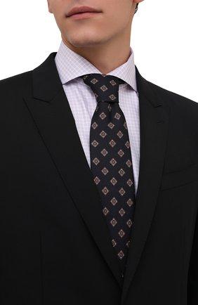 Мужской шелковый галстук BRIONI темно-синего цвета, арт. 062I00/P0432 | Фото 2 (Материал: Шелк, Текстиль; Принт: С принтом)