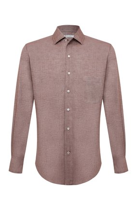 Мужская хлопковая рубашка LORO PIANA светло-коричневого цвета, арт. FAD3172 | Фото 1 (Материал внешний: Хлопок; Случай: Повседневный; Рукава: Длинные; Длина (для топов): Стандартные; Принт: Однотонные; Манжеты: На пуговицах; Воротник: Акула; Стили: Кэжуэл)