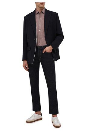 Мужская хлопковая рубашка LORO PIANA светло-коричневого цвета, арт. FAD3172 | Фото 2 (Материал внешний: Хлопок; Случай: Повседневный; Рукава: Длинные; Длина (для топов): Стандартные; Принт: Однотонные; Манжеты: На пуговицах; Воротник: Акула; Стили: Кэжуэл)