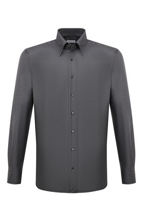 Мужская рубашка из кашемира и шелка ZILLI темно-серого цвета, арт. MFW-87060-3/ZS2 | Фото 1 (Рукава: Длинные; Материал внешний: Шерсть, Кашемир, Шелк; Длина (для топов): Стандартные; Случай: Формальный; Принт: Однотонные; Рубашки М: Regular Fit; Манжеты: На пуговицах; Воротник: Кент; Стили: Кэжуэл)