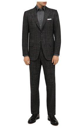 Мужская рубашка из кашемира и шелка ZILLI темно-серого цвета, арт. MFW-87060-3/ZS2 | Фото 2 (Рукава: Длинные; Материал внешний: Шерсть, Кашемир, Шелк; Длина (для топов): Стандартные; Случай: Формальный; Принт: Однотонные; Рубашки М: Regular Fit; Манжеты: На пуговицах; Воротник: Кент; Стили: Кэжуэл)