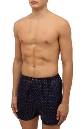 Мужские шелковые боксеры DEREK ROSE темно-синего цвета, арт. 6030-BRIN067 | Фото 2 (Материал внешний: Шелк; Кросс-КТ: бельё; Мужское Кросс-КТ: Трусы)