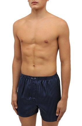 Мужские шелковые боксеры DEREK ROSE темно-синего цвета, арт. 6030-BRIN068 | Фото 2 (Материал внешний: Шелк; Кросс-КТ: бельё; Мужское Кросс-КТ: Трусы)