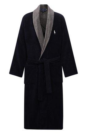 Мужской хлопковый халат POLO RALPH LAUREN темно-синего цвета, арт. 714854533 | Фото 1 (Длина (верхняя одежда): Длинные; Материал внешний: Хлопок; Рукава: Длинные; Кросс-КТ: домашняя одежда)