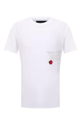 Мужская хлопковая футболка TEE LIBRARY белого цвета, арт. TFK-TS-36 | Фото 1 (Материал внешний: Хлопок; Рукава: Короткие; Длина (для топов): Стандартные; Принт: С принтом; Стили: Гранж)