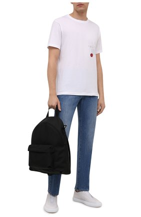 Мужская хлопковая футболка TEE LIBRARY белого цвета, арт. TFK-TS-36 | Фото 2 (Материал внешний: Хлопок; Рукава: Короткие; Длина (для топов): Стандартные; Принт: С принтом; Стили: Гранж)