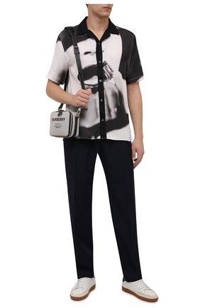 Мужская рубашка LIMITATO черно-белого цвета, арт. STUDY/SHIRT SH0RT SLEEVE | Фото 2 (Материал внешний: Растительное волокно; Рукава: Короткие; Длина (для топов): Стандартные; Случай: Повседневный; Принт: С принтом; Воротник: Отложной; Стили: Кэжуэл)