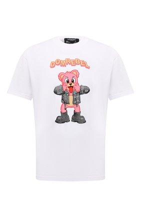 Мужская хлопковая футболка DOMREBEL белого цвета, арт. MBLAH/B0X T | Фото 1 (Длина (для топов): Стандартные; Материал внешний: Хлопок; Рукава: Короткие; Принт: С принтом; Стили: Гранж)