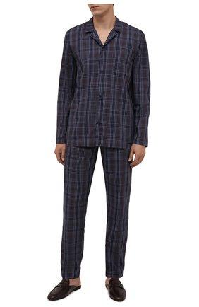Мужская хлопковая пижама HANRO синего цвета, арт. 075115 | Фото 1 (Длина (для топов): Стандартные; Длина (брюки, джинсы): Стандартные; Рукава: Длинные; Материал внешний: Хлопок; Кросс-КТ: домашняя одежда)