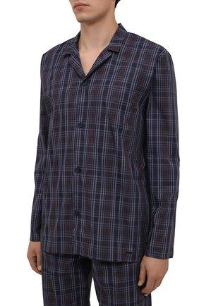 Мужская хлопковая пижама HANRO синего цвета, арт. 075115 | Фото 2 (Длина (для топов): Стандартные; Длина (брюки, джинсы): Стандартные; Рукава: Длинные; Материал внешний: Хлопок; Кросс-КТ: домашняя одежда)