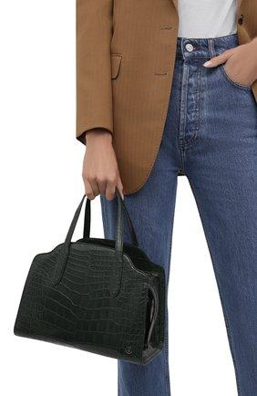 Женский сумка sesia medium из кожи аллигатора LORO PIANA темно-зеленого цвета, арт. FAL6771/AMIS | Фото 2 (Размер: medium; Ремень/цепочка: На ремешке; Сумки-технические: Сумки-шопперы)