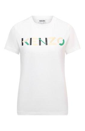 Женская хлопковая футболка KENZO белого цвета, арт. FB62TS8404SA | Фото 1 (Материал внешний: Хлопок; Стили: Спорт-шик; Принт: С принтом; Женское Кросс-КТ: Футболка-одежда; Рукава: Короткие; Длина (для топов): Стандартные)