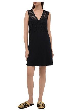Женского текстильные домашние туфли VERSACE черного цвета, арт. ZSLB00002/ZC0SP052 | Фото 2 (Подошва: Платформа; Материал внутренний: Текстиль; Материал внешний: Текстиль)
