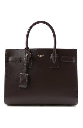 Женская сумка sac de jour baby SAINT LAURENT темно-коричневого цвета, арт. 421863/02G9W | Фото 1 (Материал: Натуральная кожа; Размер: small; Сумки-технические: Сумки top-handle; Ремень/цепочка: На ремешке)