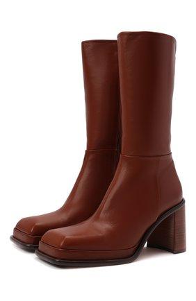 Женские кожаные ботильоны abril MIISTA коричневого цвета, арт. MI_2978 | Фото 1 (Каблук высота: Высокий; Подошва: Платформа; Материал внутренний: Натуральная кожа; Каблук тип: Устойчивый)