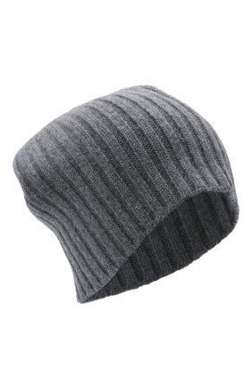 Женская кашемировая шапка ALLUDE темно-серого цвета, арт. 215/60630 | Фото 1 (Материал: Шерсть, Кашемир)