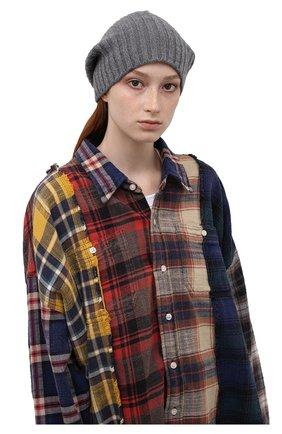 Женская кашемировая шапка ALLUDE темно-серого цвета, арт. 215/60630 | Фото 2 (Материал: Шерсть, Кашемир)