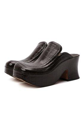 Женские кожаные сабо wedge BOTTEGA VENETA темно-коричневого цвета, арт. 667212/V1000 | Фото 1 (Материал внутренний: Натуральная кожа; Подошва: Платформа; Каблук высота: Высокий; Каблук тип: Устойчивый)