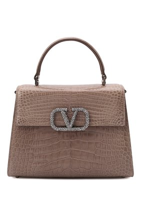 Женская сумка vsling medium из кожи аллигатора VALENTINO темно-бежевого цвета, арт. WW2B0J20/HKF/AMIS | Фото 1 (Ремень/цепочка: На ремешке; Размер: medium; Сумки-технические: Сумки top-handle)