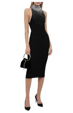 Женское платье из вискозы BALMAIN черного цвета, арт. WF1RI020/KA11   Фото 2 (Материал внешний: Вискоза; Стили: Гламурный; Случай: Вечерний; Кросс-КТ: Трикотаж; Длина Ж (юбки, платья, шорты): До колена)