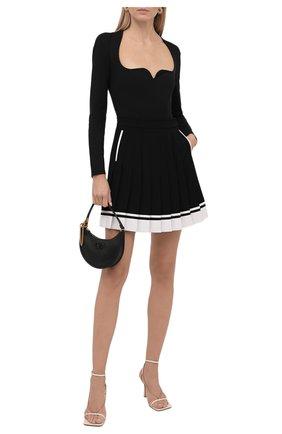 Женская юбка BALMAIN черного цвета, арт. WF1LB205/V089   Фото 2 (Материал внешний: Вискоза; Длина Ж (юбки, платья, шорты): Мини; Стили: Гламурный; Женское Кросс-КТ: юбка-плиссе)