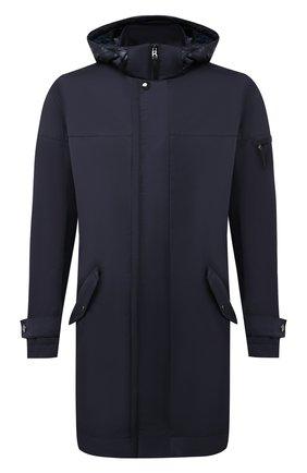 Мужская утепленное пальто BOGNER темно-синего цвета, арт. 48262978 | Фото 1 (Рукава: Длинные; Материал внешний: Синтетический материал, Хлопок; Материал подклада: Синтетический материал; Длина (верхняя одежда): До середины бедра; Кросс-КТ: Куртка; Мужское Кросс-КТ: пуховик-короткий; Стили: Кэжуэл)