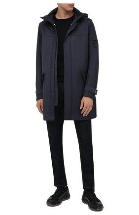 Мужская утепленное пальто BOGNER темно-синего цвета, арт. 48262978 | Фото 2 (Рукава: Длинные; Материал внешний: Синтетический материал, Хлопок; Материал подклада: Синтетический материал; Длина (верхняя одежда): До середины бедра; Кросс-КТ: Куртка; Мужское Кросс-КТ: пуховик-короткий; Стили: Кэжуэл)