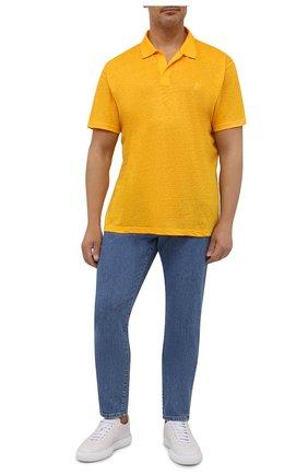 Мужское льняное поло VILEBREQUIN желтого цвета, арт. PYRE9O00/118 | Фото 2 (Материал внешний: Лен; Длина (для топов): Удлиненные; Рукава: Короткие; Застежка: Пуговицы; Стили: Кэжуэл)