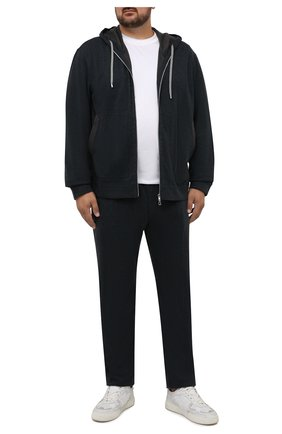 Мужской толстовка из хлопка и кашемира CORTIGIANI темно-серого цвета, арт. 214600/0000/60-70 | Фото 2 (Материал внешний: Хлопок; Длина (для топов): Стандартные; Рукава: Длинные; Мужское Кросс-КТ: Толстовка-одежда; Стили: Спорт-шик; Big sizes: Big Sizes)