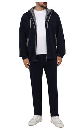 Мужской толстовка из хлопка и кашемира CORTIGIANI темно-синего цвета, арт. 214600/0000/60-70 | Фото 2 (Рукава: Длинные; Длина (для топов): Стандартные; Материал внешний: Хлопок; Мужское Кросс-КТ: Толстовка-одежда; Стили: Спорт-шик; Big sizes: Big Sizes)