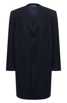 Мужской пальто из шерсти и шелка CANALI темно-синего цвета, арт. 57118/FF02826/60-64   Фото 1 (Длина (верхняя одежда): До колена; Материал внешний: Шерсть; Материал подклада: Купро; Рукава: Длинные; Мужское Кросс-КТ: пальто-верхняя одежда; Стили: Кэжуэл; Big sizes: Big Sizes)