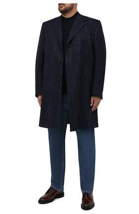 Мужской пальто из шерсти и шелка CANALI темно-синего цвета, арт. 57118/FF02826/60-64   Фото 2 (Длина (верхняя одежда): До колена; Материал внешний: Шерсть; Материал подклада: Купро; Рукава: Длинные; Мужское Кросс-КТ: пальто-верхняя одежда; Стили: Кэжуэл; Big sizes: Big Sizes)