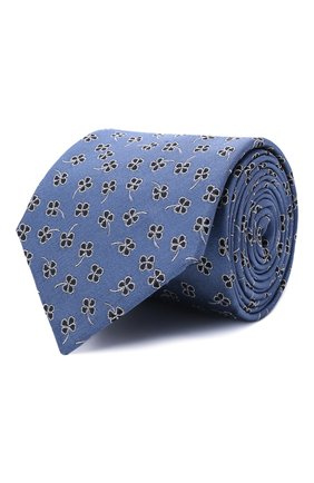 Мужской шелковый галстук LANVIN голубого цвета, арт. 3221/TIE   Фото 1 (Материал: Текстиль, Шелк; Принт: С принтом)