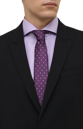 Мужской шелковый галстук LANVIN фиолетового цвета, арт. 1303/TIE   Фото 2 (Материал: Шелк, Текстиль; Принт: С принтом)