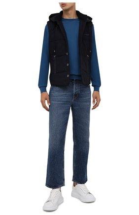 Мужской утепленный жилет GRAN SASSO темно-синего цвета, арт. 23192/51303 | Фото 2 (Материал внешний: Шерсть; Материал подклада: Синтетический материал; Кросс-КТ: Куртка, Пуховик; Длина (верхняя одежда): Короткие; Стили: Кэжуэл)