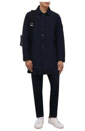 Мужской утепленный плащ STONE ISLAND темно-синего цвета, арт. 751570832 | Фото 2 (Материал подклада: Синтетический материал; Рукава: Длинные; Материал внешний: Синтетический материал; Длина (верхняя одежда): До середины бедра; Мужское Кросс-КТ: Плащ-верхняя одежда; Стили: Кэжуэл)