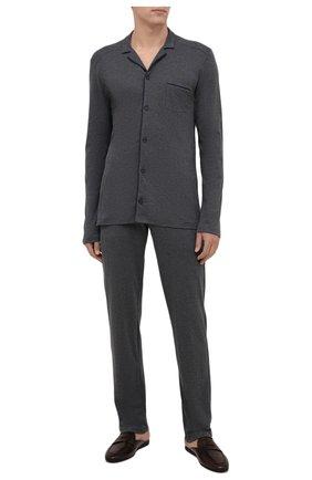 Мужская хлопковая пижама HANRO темно-серого цвета, арт. 075587 | Фото 1 (Длина (для топов): Стандартные; Длина (брюки, джинсы): Стандартные; Материал внешний: Хлопок; Рукава: Длинные; Кросс-КТ: домашняя одежда)