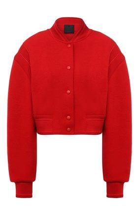 Женский шерстяной бомбер GIVENCHY красного цвета, арт. BW00D14Z9R   Фото 1 (Рукава: Длинные; Материал утеплителя: Шерсть; Материал внешний: Шерсть; Длина (верхняя одежда): Короткие; Кросс-КТ: Куртка; Стили: Кэжуэл)