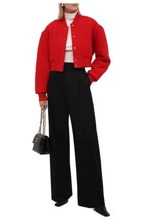 Женский шерстяной бомбер GIVENCHY красного цвета, арт. BW00D14Z9R   Фото 2 (Рукава: Длинные; Материал утеплителя: Шерсть; Материал внешний: Шерсть; Длина (верхняя одежда): Короткие; Кросс-КТ: Куртка; Стили: Кэжуэл)