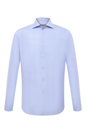 Мужская хлопковая сорочка CANALI голубого цвета, арт. 758/GD02335 | Фото 1 (Рукава: Длинные; Материал внешний: Хлопок; Длина (для топов): Стандартные; Случай: Формальный; Принт: Клетка; Рубашки М: Regular Fit; Манжеты: На пуговицах; Воротник: Акула; Стили: Классический)