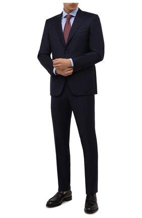 Мужская хлопковая сорочка CANALI голубого цвета, арт. 758/GD02335 | Фото 2 (Рукава: Длинные; Материал внешний: Хлопок; Длина (для топов): Стандартные; Случай: Формальный; Принт: Клетка; Рубашки М: Regular Fit; Манжеты: На пуговицах; Воротник: Акула; Стили: Классический)