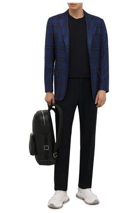 Мужские брюки из шерсти и кашемира TOM FORD темно-синего цвета, арт. 228R01/732D42 | Фото 2 (Материал внешний: Шерсть; Случай: Повседневный; Стили: Кэжуэл; Длина (брюки, джинсы): Стандартные)