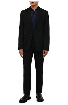 Мужское шерстяное поло CORNELIANI темно-синего цвета, арт. 88M509-1825151/00 | Фото 2 (Материал внешний: Шерсть; Застежка: Молния; Длина (для топов): Стандартные; Рукава: Длинные; Кросс-КТ: Трикотаж; Стили: Кэжуэл)