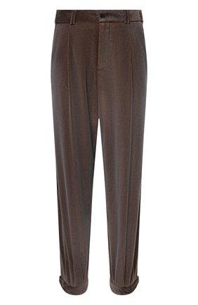 Мужские хлопковые брюки GIORGIO ARMANI коричневого цвета, арт. 0WGPP0D7/T02SV | Фото 1 (Материал внешний: Хлопок; Материал подклада: Синтетический материал; Случай: Повседневный; Стили: Кэжуэл; Длина (брюки, джинсы): Стандартные)