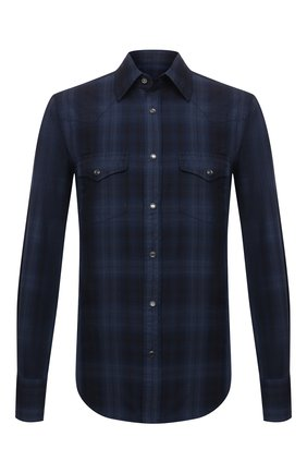 Мужская хлопковая рубашка TOM FORD темно-синего цвета, арт. 2FT821/94MEKI | Фото 1 (Длина (для топов): Стандартные; Материал внешний: Хлопок; Рукава: Длинные; Случай: Повседневный; Принт: Клетка; Рубашки М: Slim Fit; Манжеты: На кнопках; Воротник: Кент; Стили: Кэжуэл)