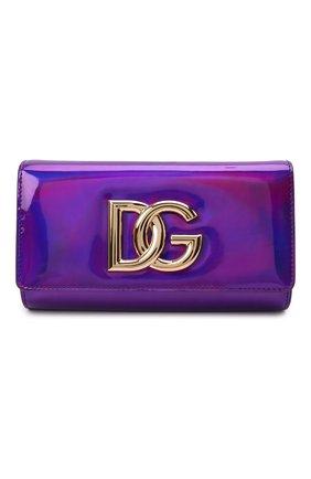 Женский клатч 3.5 DOLCE & GABBANA фиолетового цвета, арт. BB7082/AQ495 | Фото 1 (Материал: Натуральная кожа; Ремень/цепочка: На ремешке; Размер: small; Женское Кросс-КТ: Клатч-клатчи, Вечерняя сумка)